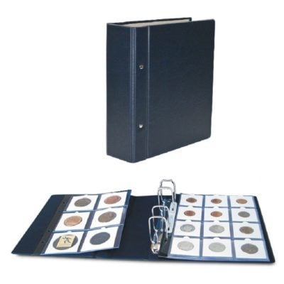 """Coin Holder Album for 2""""x2"""" Coin Holders-Compact Blue"""