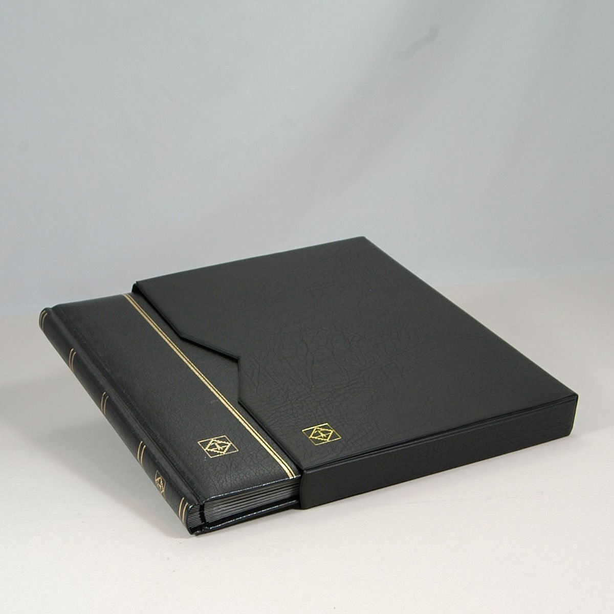 Black Leather Stockbook with Slipcase