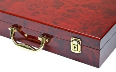 """Coin Case """"Executive"""" Burlwood Carrying w/6 Trays"""