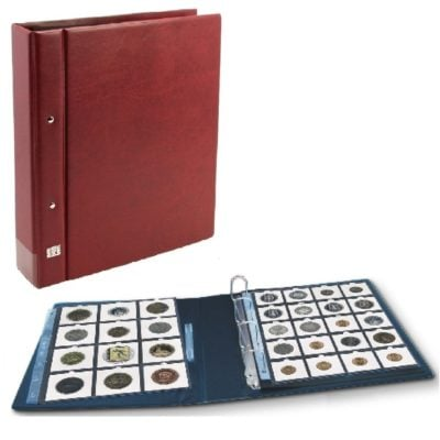 "Coin Holder Value Album For 2""x2"" Coin Flips - Wine Red"