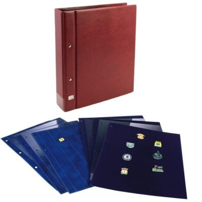 Pin Trading Book-Collecto Value Wine Red Album w/2 Straight Pin Pages