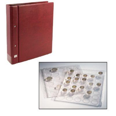 Coin Album for Half Dollars in Capsules - Wine Red