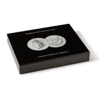 Black Wood Presentation Case for 40 Morgan Dollars in Capsules