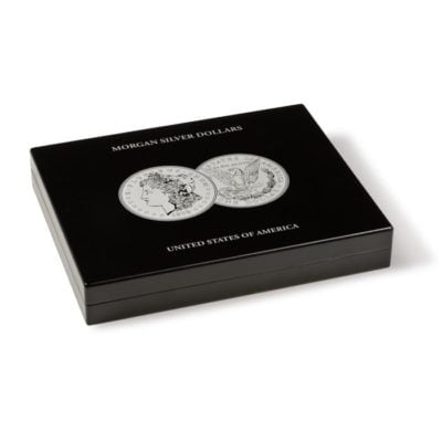 Black Wood Presentation Case for 20 Morgan Dollars in Capsules - No Extra Tray