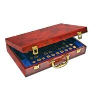 "Coin Case ""Executive"" Burlwood Carrying w/6 Trays"