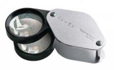 Folding Magnifier 4x+6x Biconvex