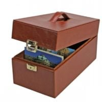 Postcard Box - Saddle Leather for Postcards & Covers