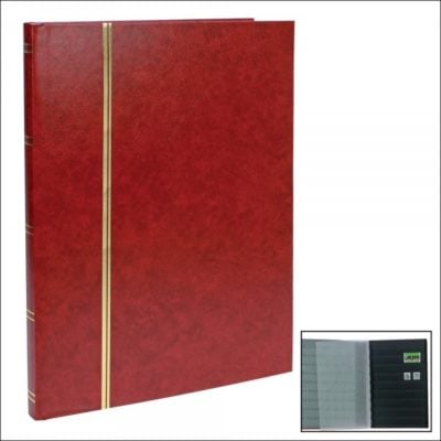 Stamp Albums Stock Books - Wine Red - 16 Black Pages - Large Format