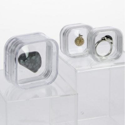 Mineral Display Case-3D Floating Capsule Gemstone Box-Pack of 5