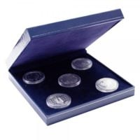 Coin Box Blue Leatherette for Multiple Coins / Medals