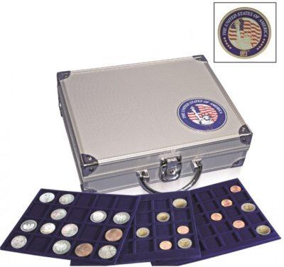 "Aluminum Coin Case ""USA"" w/6 mixed trays"