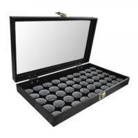Glass Top Display Box with 50 Black Gem Jar Inserts