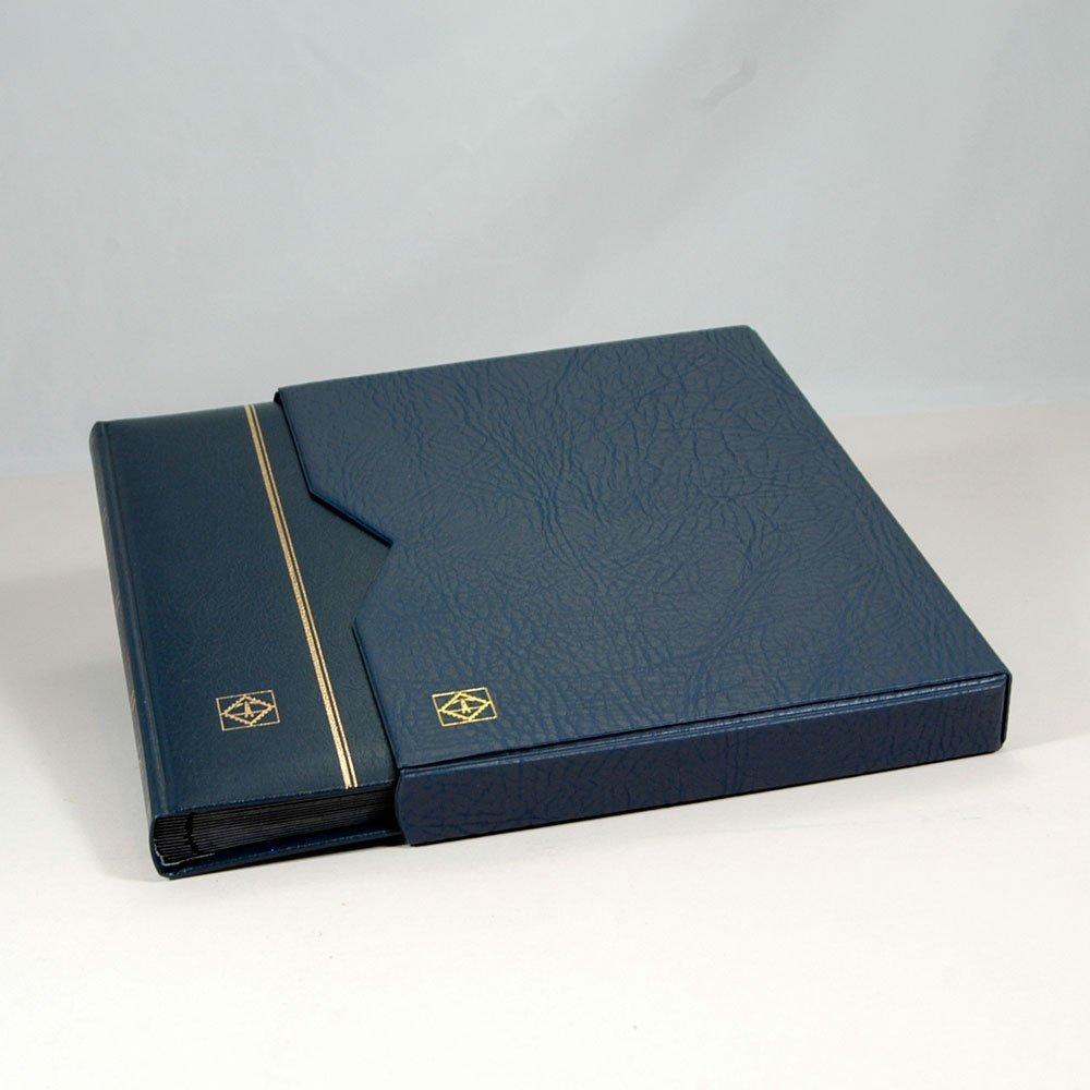 Navy Blue Leather Stockbook with Slipcase