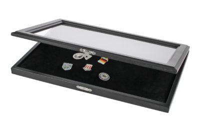 Pin Display Case - Matte Black Glass Top